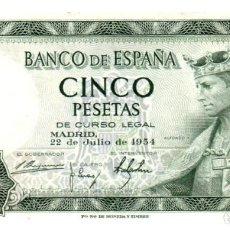 Billetes españoles: BILLETE DE ESPAÑA DE 5 PESETAS DE 1954 CIRCULADO. Lote 261664705
