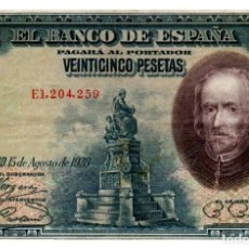 Billetes españoles: BILLETE DE ESPAÑA DE 25 PESETAS DE 1928 CIRCULADO CALDERON DE LA BARCA. Lote 261665000