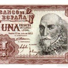Billetes españoles: BILLETE DE ESPAÑA DE 1 PESETA DE 1953 CIRCULADO MARQUES DE SANTA CRUZ. Lote 261665090