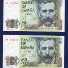 Billetes españoles: PAREJA DE 1000 PTAS DE 1979. PEREZ GALDOS . SERIE 9A. SC. Lote 261770605
