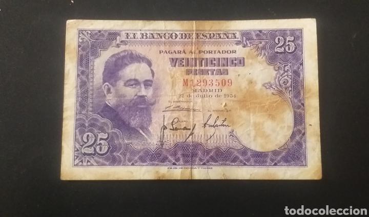 BILLETE DE 25 PESETAS ESPAÑA AÑO 1954 (Numismática - Notafilia - Billetes Españoles)