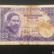 Billetes españoles: BILLETE DE 25 PESETAS ESPAÑA AÑO 1954. Lote 262035540