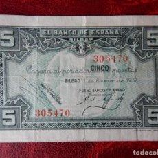 Notas espanholas: BC - SIN SERIE - BILLETE DE 5 PESETAS DE 1937 – BANCO DE ESPAÑA - BILBAO. Lote 262252525