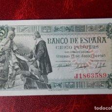 Notas espanholas: SC- - SERIE J - BILLETE DE 5 PESETAS DE 1945 - CAPITULACIONES DE SANTA FE. Lote 262283730