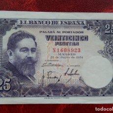 Notas espanholas: MBC - SERIE N - BILLETE DE 25 PESETAS DE 1954 - ISAAC ALBENIZ. Lote 262291710