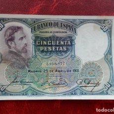 Notas espanholas: MBC - SIN SERIE - BILLETE DE 50 PESETAS DE 1931 - EDUARDO ROSALES. Lote 262292815