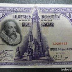 "Notas espanholas: OJO ""SIN SERIE"" - MBC - BILLETE DE 100 PESETAS DE 1928 - CERVANTES. Lote 262294945"