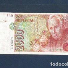Billetes españoles: 2000 PTAS DE 1992 . SIN SERIE . SC. NUMERO BAJO. Lote 262414015