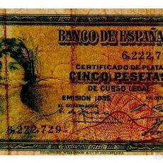Billetes españoles: BILLETE DE ESPAÑA DE 5 PESETAS DE 1935 MUY CIRCULADO. Lote 262507035
