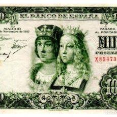 Billetes españoles: BILLETE DE ESPAÑA DE 1000 PESETAS DE 1957 MANCHADO CON PEQUEÑA ROTURA. Lote 262507100