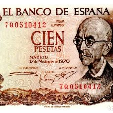 Billetes españoles: BILLETE DE ESPAÑA DE 100 PESETAS DE 1970 CIRCULADO MANUEL DE FALLA. Lote 262507180