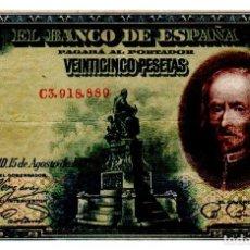 Billetes españoles: BILLETE DE ESPAÑA DE 25 PESETAS DE 1928 CIRCULADO CALDERON DE LA BARCA. Lote 262507290