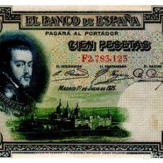Billetes españoles: BILLETE DE ESPAÑA DE 100 PESETAS DE 1925 CIRCULADO FELIPE II. Lote 262507480