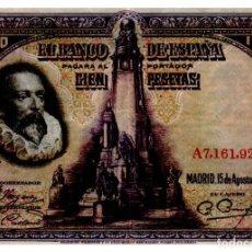 Billetes españoles: BILLETE DE ESPAÑA DE 100 PESETAS DE 1928 CIRCULADO CERVANTES. Lote 262507565