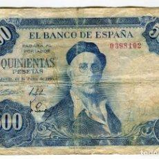 Billetes españoles: 500 PESETAS IGNACIO ZULOAGA MADRID 22 DE JULIO DE 1954 SIN SERIE NUMERACION BAJA USADO. Lote 262686955
