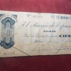 Billets espagnols: ESPAÑA 100 PESETAS 1936 (BANCO DE BILBAO). Lote 262795410