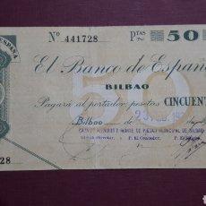 Banconote spagnole: 50 PESETAS 1936 BILBAO. Lote 263087085