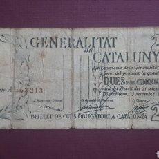 Billetes españoles: 2,50 PESETAS 1936 GENERALITAT CATALUNYA. Lote 263096480