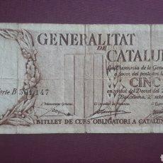 Banconote spagnole: 5 PESETAS 1936 GENERALITAT CATALUNYA. Lote 263096525