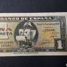 Billetes españoles: 1 PESETA 1940 (CARABELA) SC SERIE I. Lote 263097165
