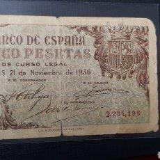 Billetes españoles: 5 PESETAS 1936 BURGOS (CON FICHA SUBASTA AUREO & CALICÓ). Lote 263097365
