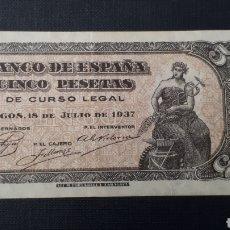 Billetes españoles: 5 PESETAS 1937 PORTABELLA EBC SERIE C. Lote 263097405