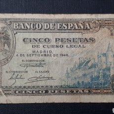 Billetes españoles: 5 PESETAS 1940 SERIE F. Lote 263097455
