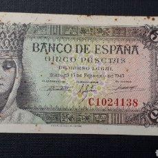 Billetes españoles: 5 PESETAS 1943 SC- SERIE C. Lote 263097490