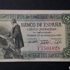 Billetes españoles: 5 PESETAS 1945 SC- SERIE F. Lote 263097520