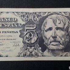 Billetes españoles: 5 PESETAS 1947 EBC SERIE B. Lote 263097545