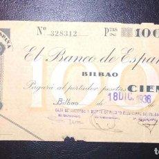 Billetes españoles: BILLETE DE 100 PESETAS 1936 DEL BANCO DE ESPAÑA BILBAO, MUY RARO ASI CONSERVADO. Lote 263198805