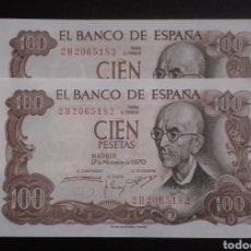 Billetes españoles: BILLETES PAREJAS PLANCHA 100 PESETAS AÑO 1970. Lote 263206010