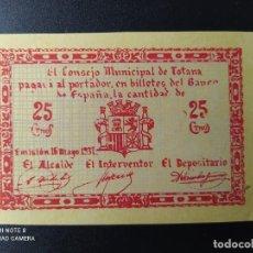Billetes españoles: 25 CENTIMOS DE 1937.... CONSEJO MUNICIPAL DE TOTANA....SC-......EL DE LAS FOTOS. Lote 263207130