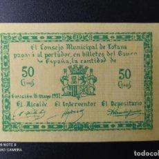 Billetes españoles: 50 CENTIMOS DE 1937.... CONSEJO MUNICIPAL DE TOTANA....SC-......EL DE LAS FOTOS. Lote 263207200