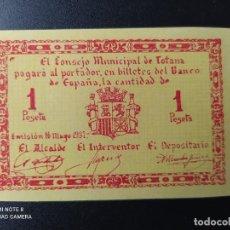 Billetes españoles: 1 PESETA DE 1937.... CONSEJO MUNICIPAL DE TOTANA....SC-......EL DE LAS FOTOS. Lote 263207265