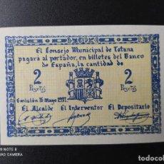 Billetes españoles: 2 PESETAS DE 1937.... CONSEJO MUNICIPAL DE TOTANA....SC-......EL DE LAS FOTOS. Lote 263207320