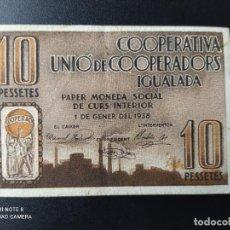 Billetes españoles: 10 PESETAS DE 1938....IGUALADA....PRECIOSO......EL DE LAS FOTOS. Lote 263207415