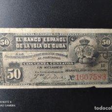 Billetes españoles: 50 CENTAVOS DE PESO DE 1896... BANCO DE ESPAÑA EN CUBA.........EL DE LAS FOTOS. Lote 263207550