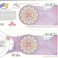 Banconote spagnole: BILLETE DE 10 ECU PARA EXPO'92 DE SEVILLA. SE ADQUIRÍAN EN EL PABELLÓN UNIÓN EUROPEA. Lote 263739065