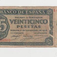 Billetes españoles: 25 PESETAS-21 DE NOVIEMBRE 1936-SERIE S. Lote 290967603