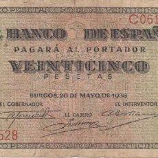 Billets espagnols: BILLETE DE BURGOS DE 25 PESETAS DEL AÑO 1938 DE LA SERIE C. Lote 263882715