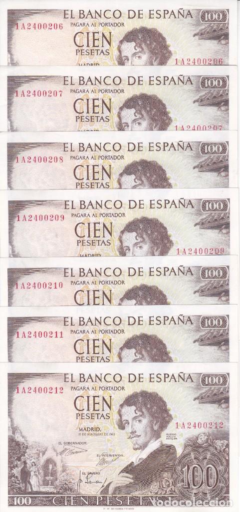 7 BILLETES CORRELATIVOS DE 100 PESETAS DEL AÑO 1965 SERIE 1A EN CALIDAD EBC (BECQUER) (Numismática - Notafilia - Billetes Españoles)