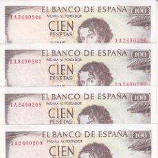 Billets espagnols: 7 BILLETES CORRELATIVOS DE 100 PESETAS DEL AÑO 1965 SERIE 1A EN CALIDAD EBC (BECQUER). Lote 263937070