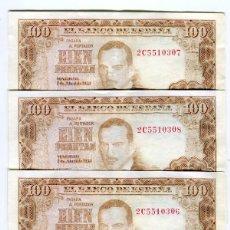 Billetes españoles: 100 (CIEN) PESETAS MADRID 7 DE ABRIL DE 1953 CUATRO BILLETES CORRELATIVOS CON APRESTO. Lote 264051070