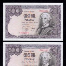 Billetes españoles: PAREJA CORRELATIVA 5000 PESETAS 1976 S/C. Lote 264098645