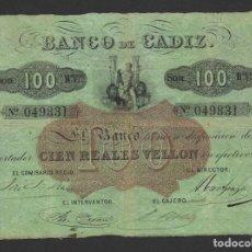 Billetes españoles: 100 REALES VELLON BANCO DE CADIZ (ND) 1847 2ªEMISION MBC-. Lote 264309188