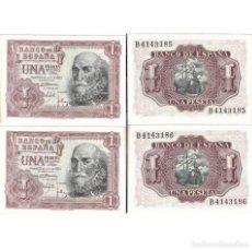 """Billetes españoles: LOTE BILLETES 2 X 1 PESETA, 1953, """"EL MARQUES DE SANTA CRUZ"""", SERIE B, CORRELATIVOS, SC. Lote 264966194"""