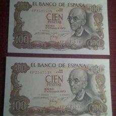 Billetes españoles: PAREJA CORRELATIVA 100 PESETAS 1970 (SERIE 4P) SC. Lote 184633276
