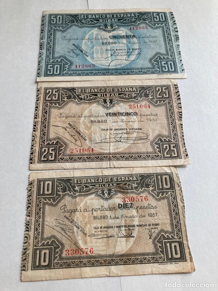 LOTE BILLETES BANCO DE ESPAÑA BILBAO AÑO 1937. (Numismática - Notafilia - Billetes Españoles)