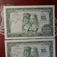 Billetes españoles: IMPECABLE PAREJA CORRELATIVA - 1000 PESETAS - 1957 - SERIE V (RARA) - REYES CATOLICOS. Lote 266455623